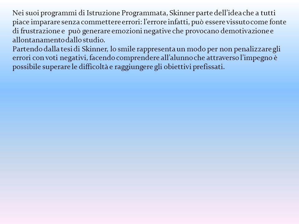Nei suoi programmi di Istruzione Programmata, Skinner parte dell'idea che a tutti piace imparare senza commettere errori: l'errore infatti, può essere vissuto come fonte di frustrazione e può generare emozioni negative che provocano demotivazione e allontanamento dallo studio.