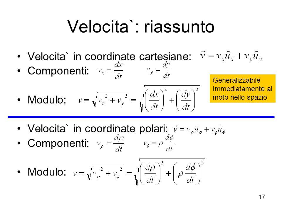 Velocita`: riassunto Velocita` in coordinate cartesiane: Componenti: