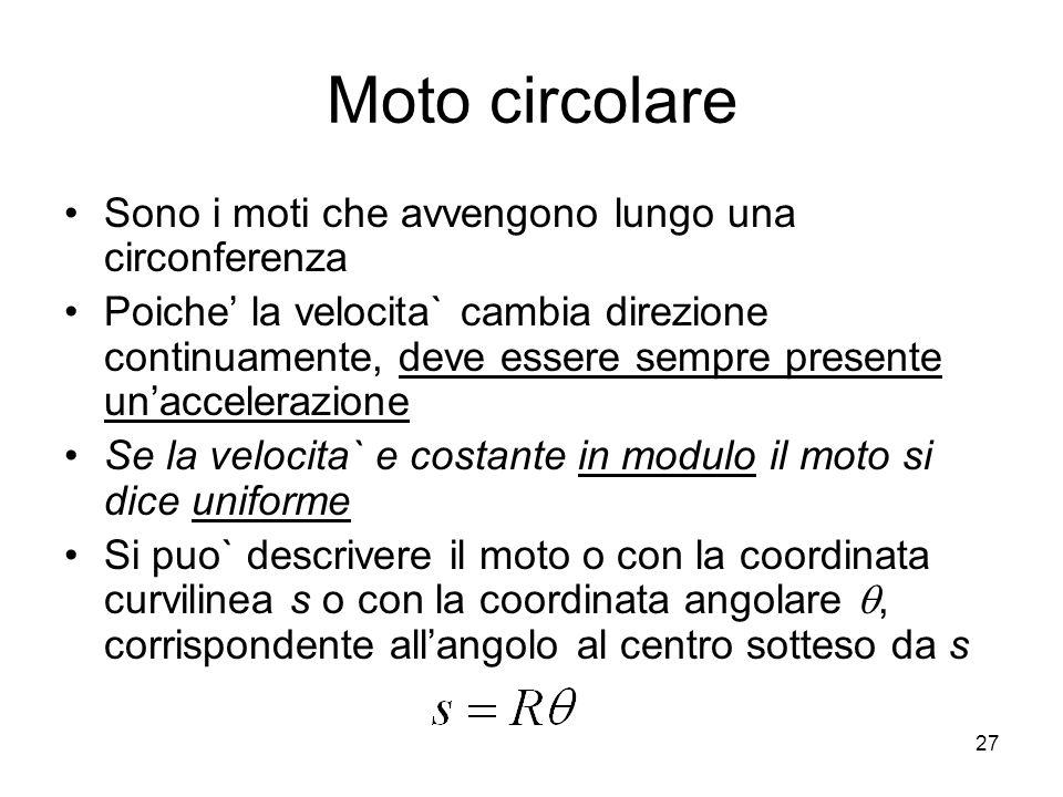 Moto circolare Sono i moti che avvengono lungo una circonferenza