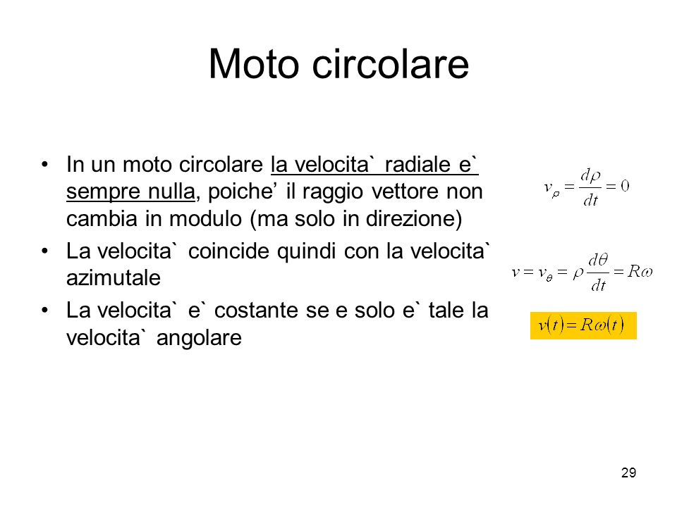 Moto circolare In un moto circolare la velocita` radiale e` sempre nulla, poiche' il raggio vettore non cambia in modulo (ma solo in direzione)