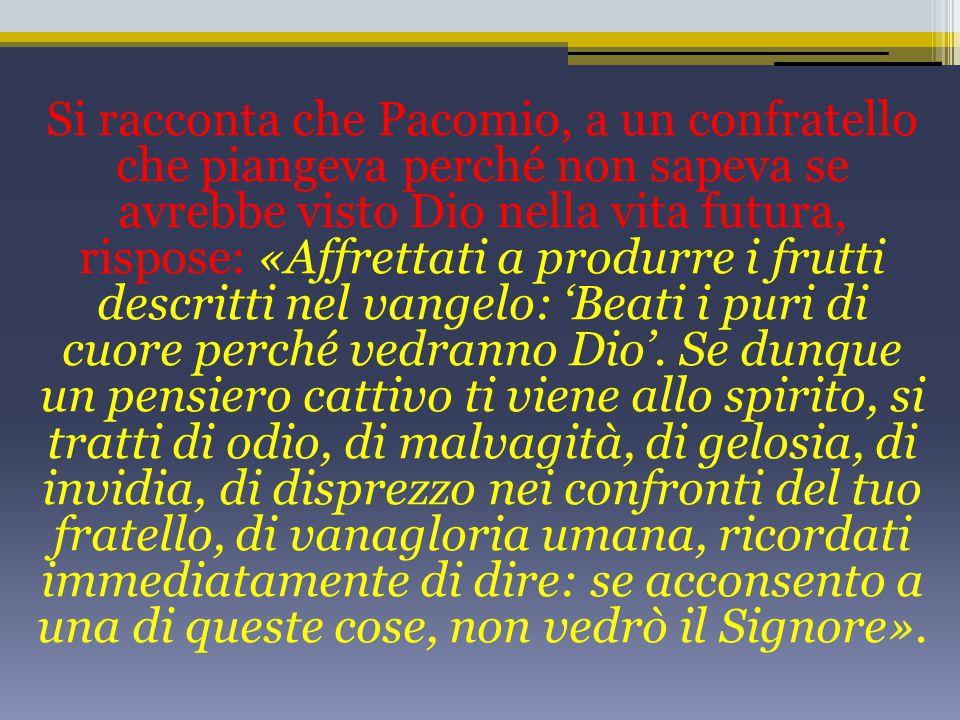 Si racconta che Pacomio, a un confratello che piangeva perché non sapeva se avrebbe visto Dio nella vita futura, rispose: «Affrettati a produrre i frutti descritti nel vangelo: 'Beati i puri di cuore perché vedranno Dio'.