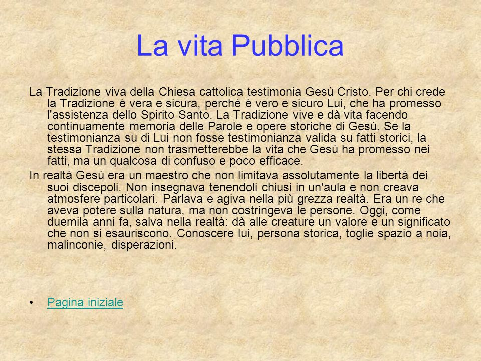La vita Pubblica
