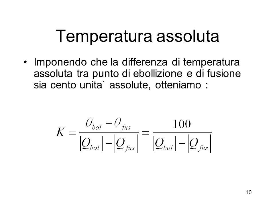 Temperatura assoluta Imponendo che la differenza di temperatura assoluta tra punto di ebollizione e di fusione sia cento unita` assolute, otteniamo :