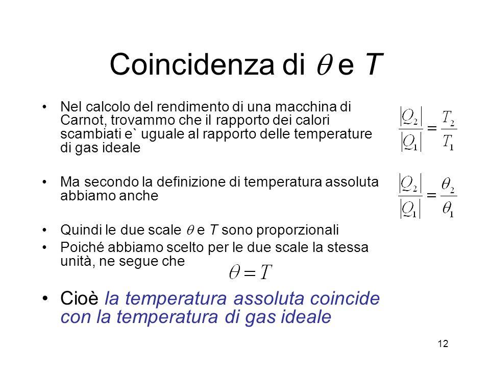 Coincidenza di q e T