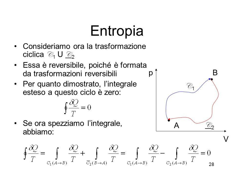 Entropia Consideriamo ora la trasformazione ciclica C1 U C2