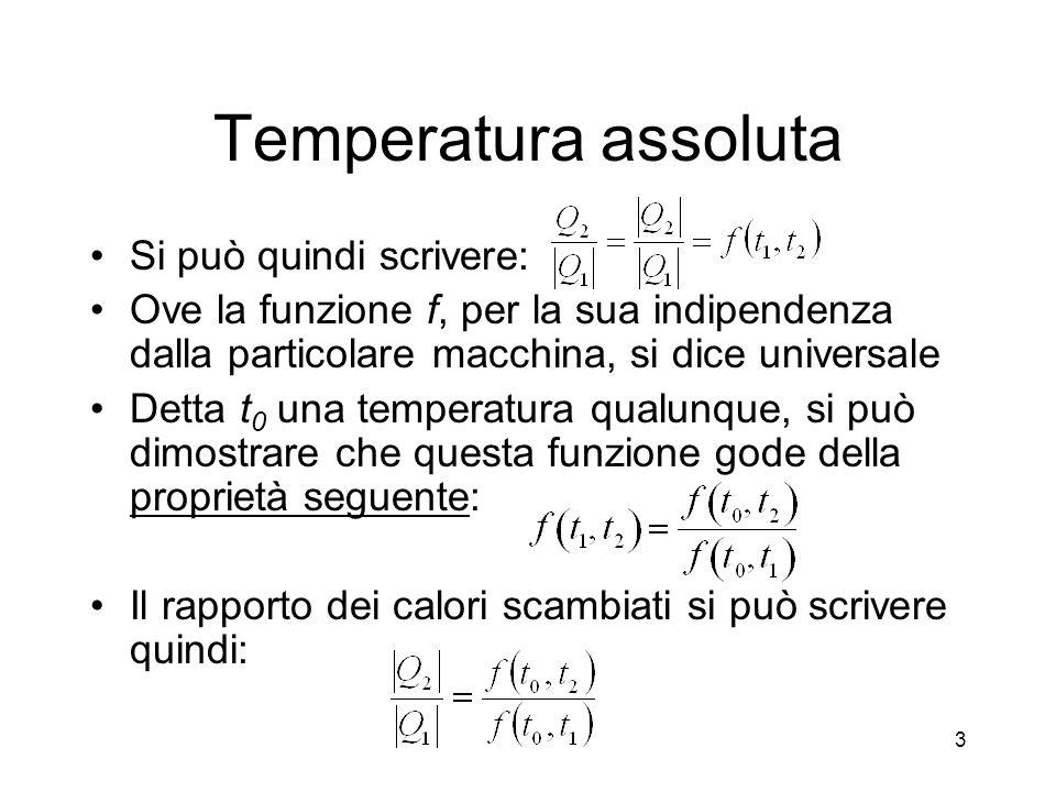Temperatura assoluta Si può quindi scrivere: