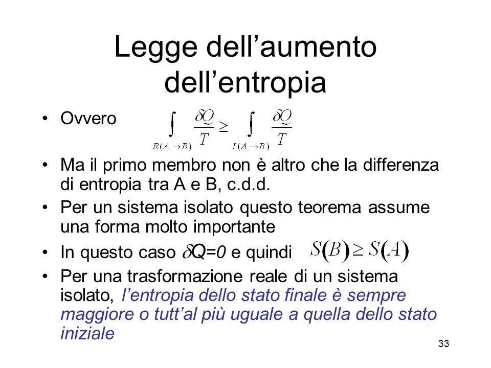 Legge dell'aumento dell'entropia