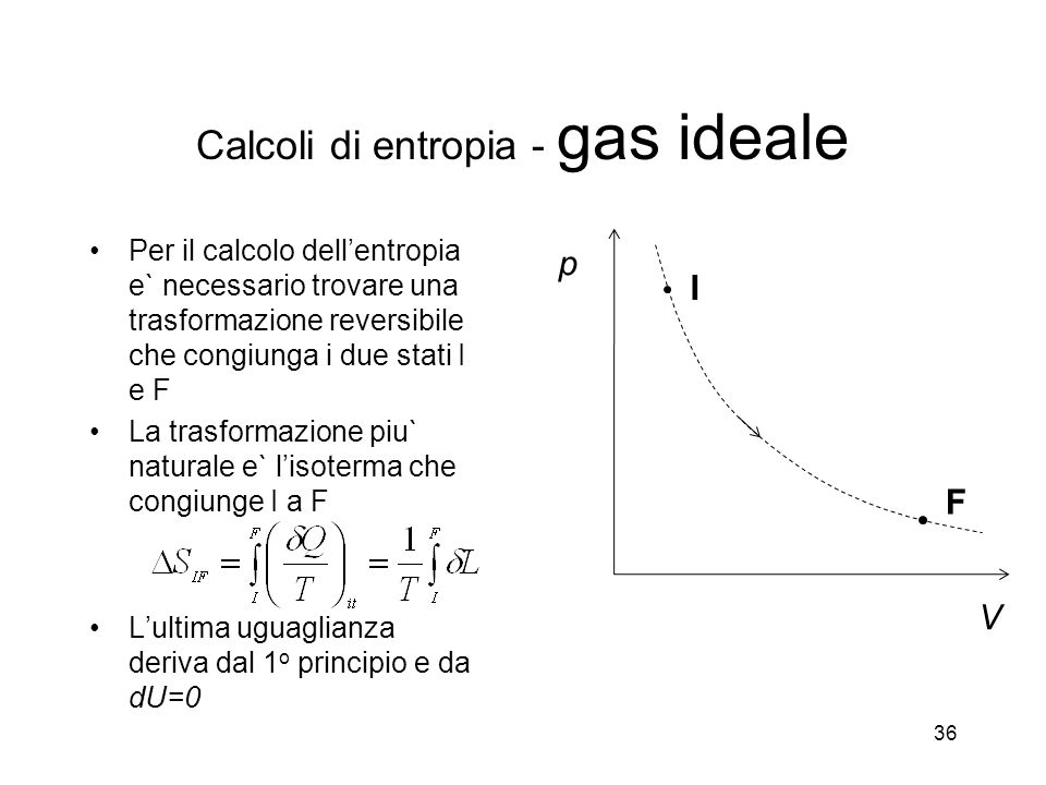 Calcoli di entropia - gas ideale