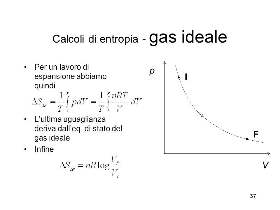 Calcoli di entropia - gas ideale