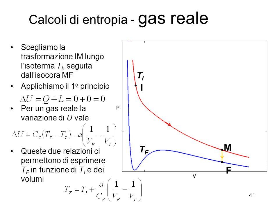 Calcoli di entropia - gas reale