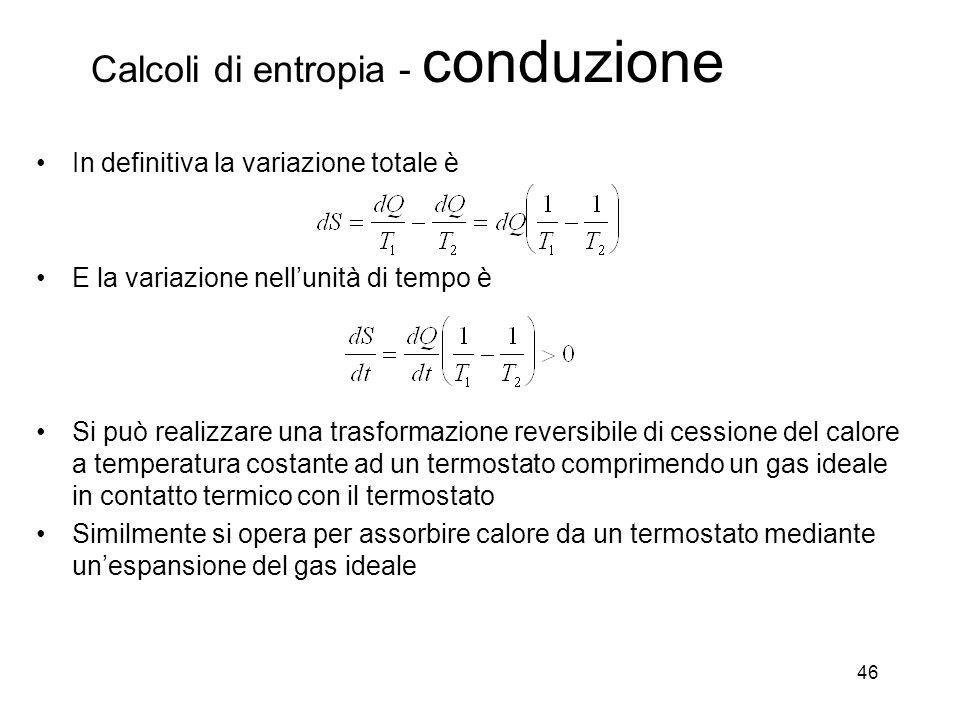 Calcoli di entropia - conduzione