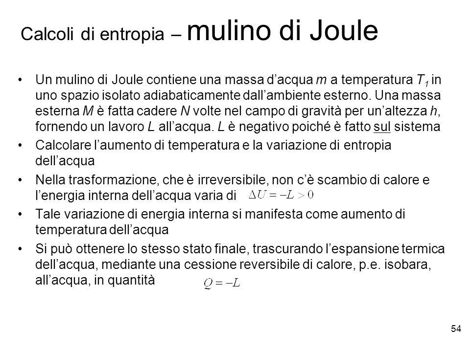 Calcoli di entropia – mulino di Joule
