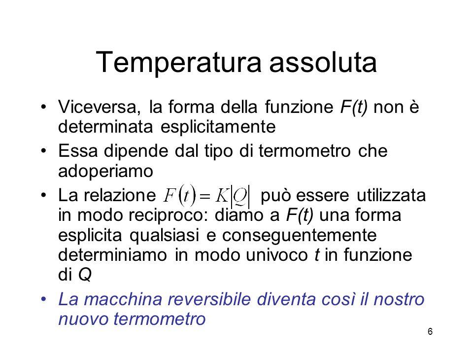 Temperatura assoluta Viceversa, la forma della funzione F(t) non è determinata esplicitamente. Essa dipende dal tipo di termometro che adoperiamo.