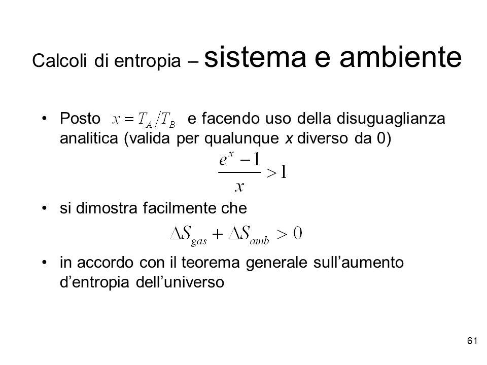 Calcoli di entropia – sistema e ambiente