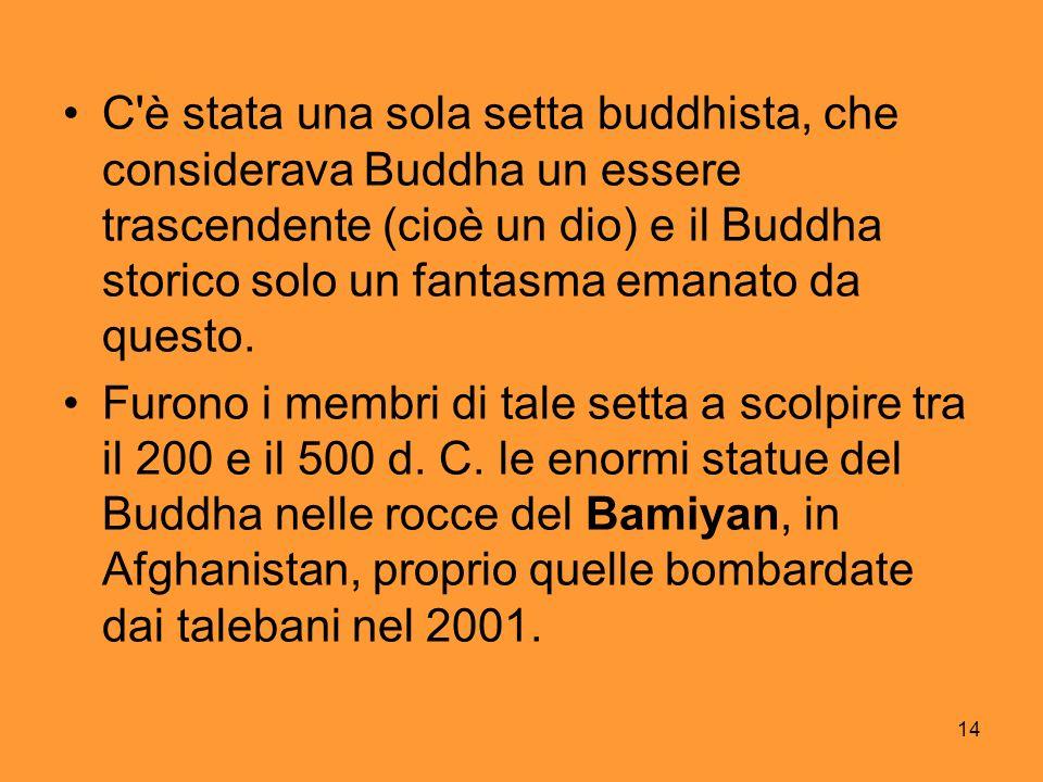 C è stata una sola setta buddhista, che considerava Buddha un essere trascendente (cioè un dio) e il Buddha storico solo un fantasma emanato da questo.