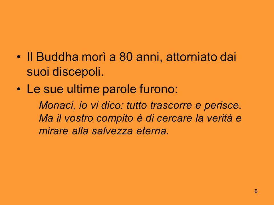 Il Buddha morì a 80 anni, attorniato dai suoi discepoli.