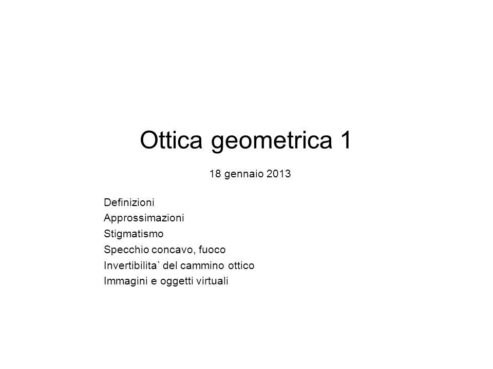 Ottica geometrica 1 18 gennaio 2013