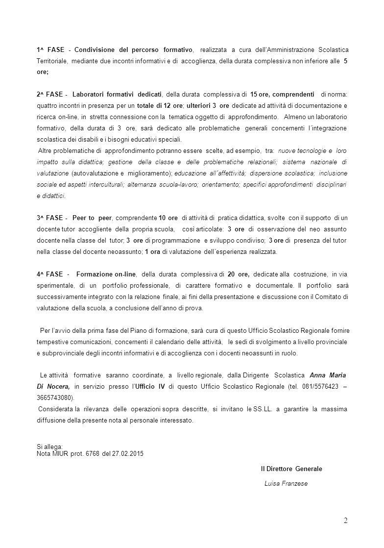 1^ FASE - Condivisione del percorso formativo, realizzata a cura dell'Amministrazione Scolastica