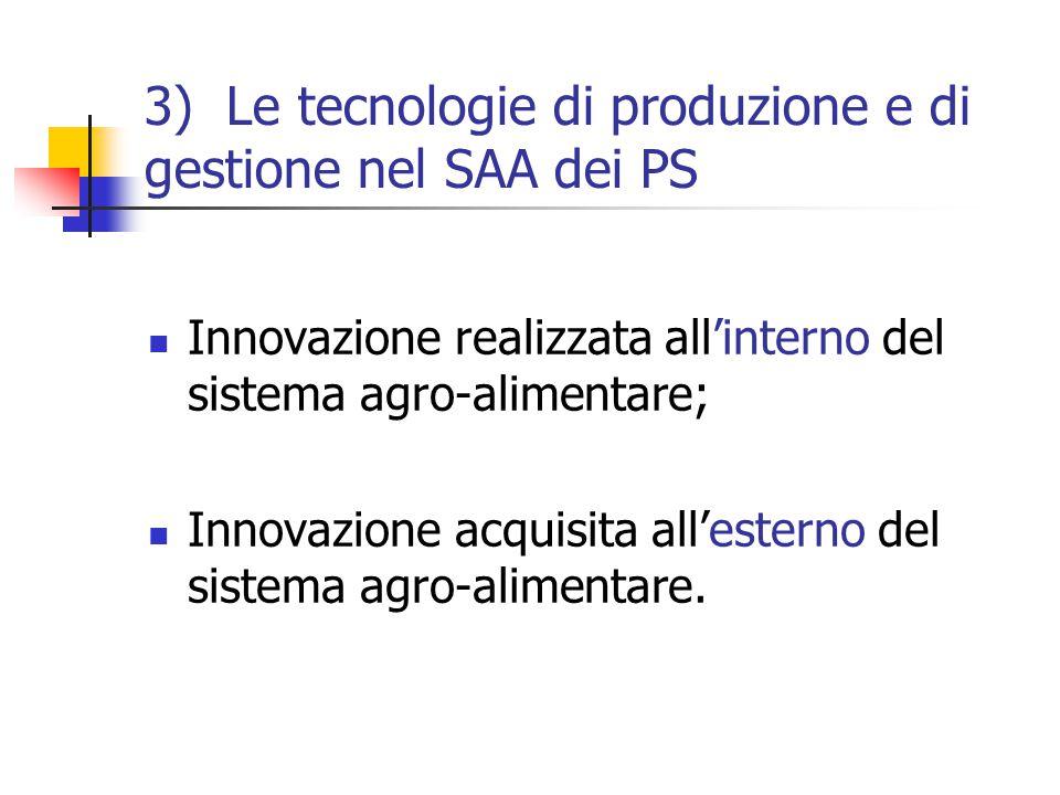 3) Le tecnologie di produzione e di gestione nel SAA dei PS