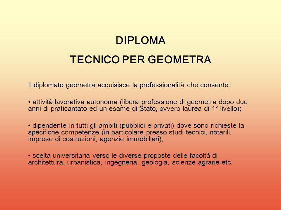 DIPLOMA TECNICO PER GEOMETRA
