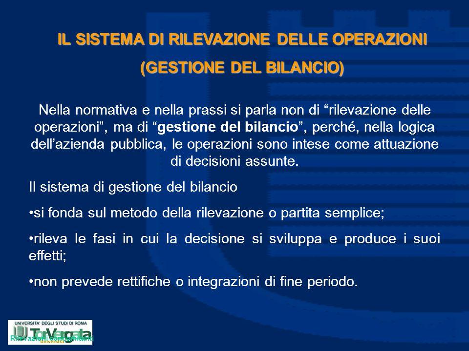 IL SISTEMA DI RILEVAZIONE DELLE OPERAZIONI (GESTIONE DEL BILANCIO)