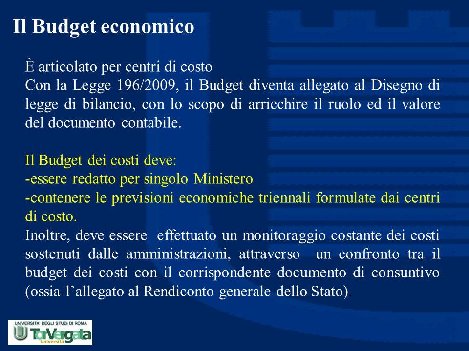 Il Budget economico È articolato per centri di costo