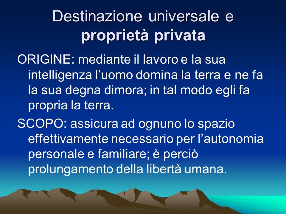 Destinazione universale e proprietà privata