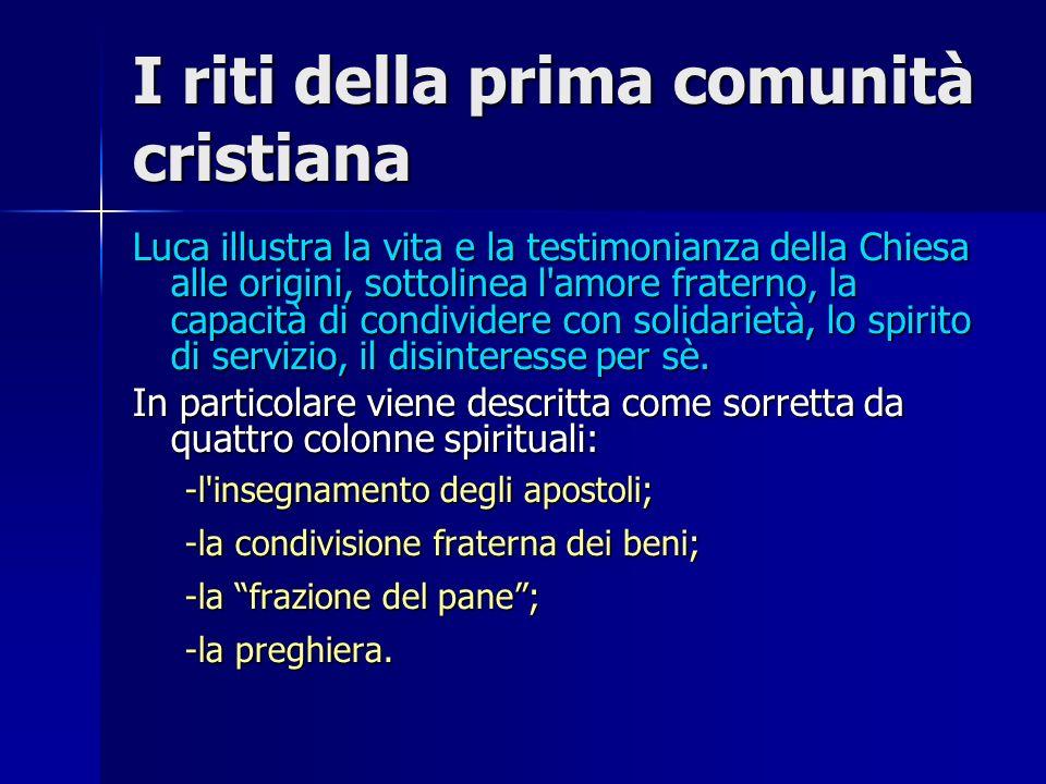 I riti della prima comunità cristiana