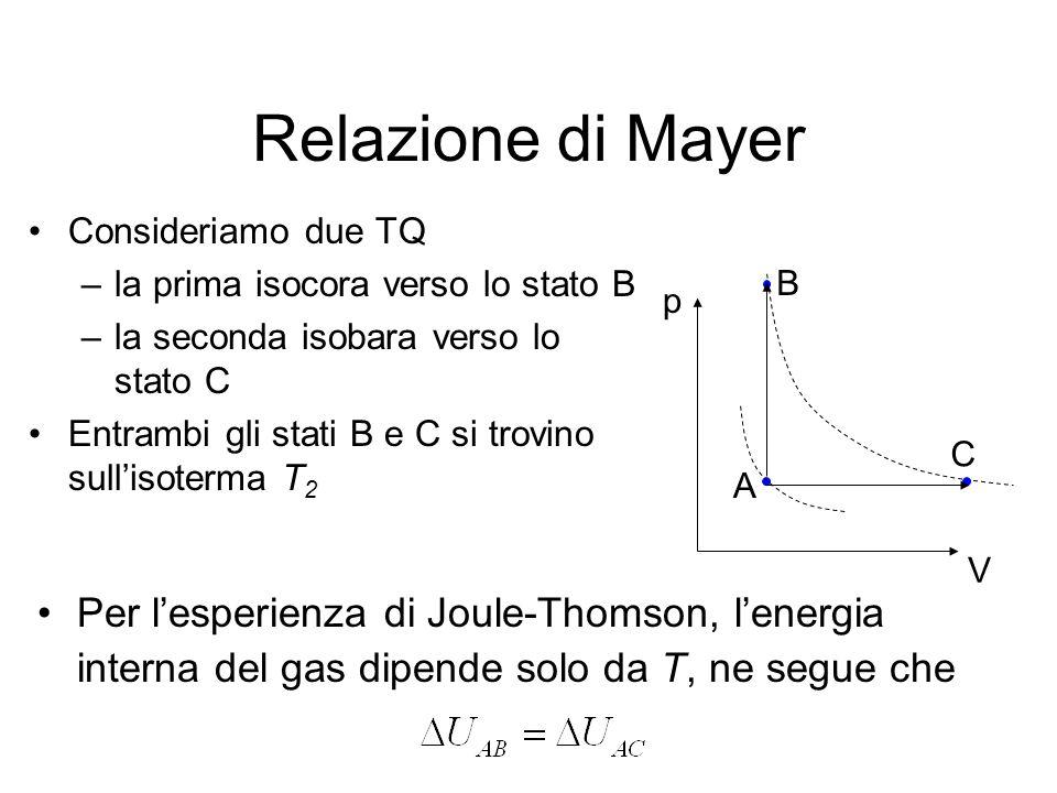 Relazione di Mayer Consideriamo due TQ. la prima isocora verso lo stato B. la seconda isobara verso lo stato C.