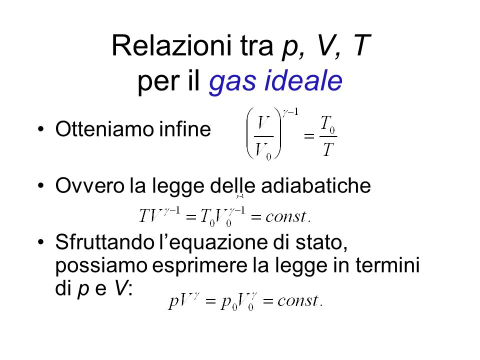 Relazioni tra p, V, T per il gas ideale