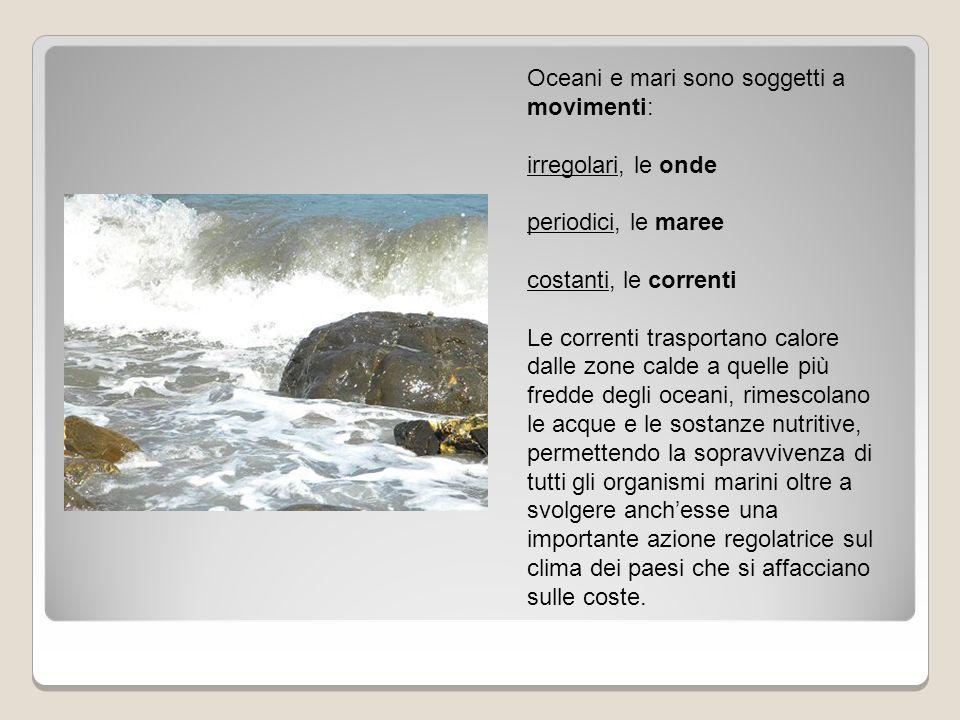 Oceani e mari sono soggetti a movimenti: