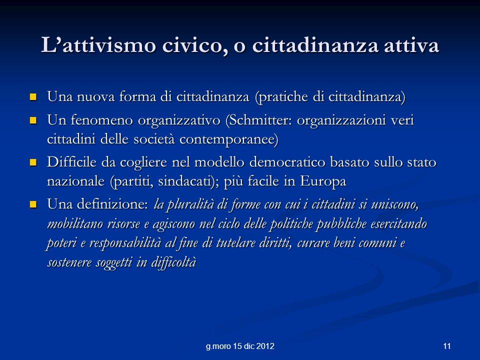 L'attivismo civico, o cittadinanza attiva