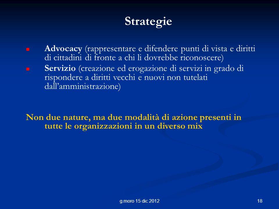 Strategie Advocacy (rappresentare e difendere punti di vista e diritti di cittadini di fronte a chi li dovrebbe riconoscere)