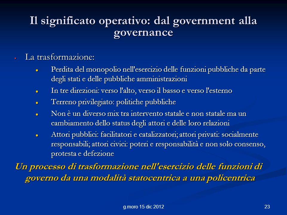 Il significato operativo: dal government alla governance