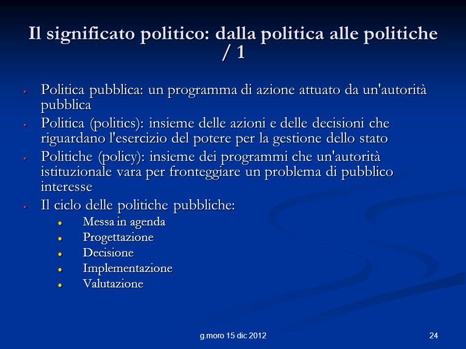Il significato politico: dalla politica alle politiche / 1