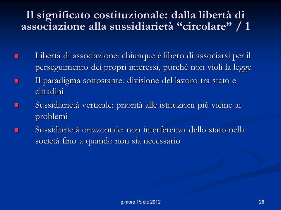 Il significato costituzionale: dalla libertà di associazione alla sussidiarietà circolare / 1
