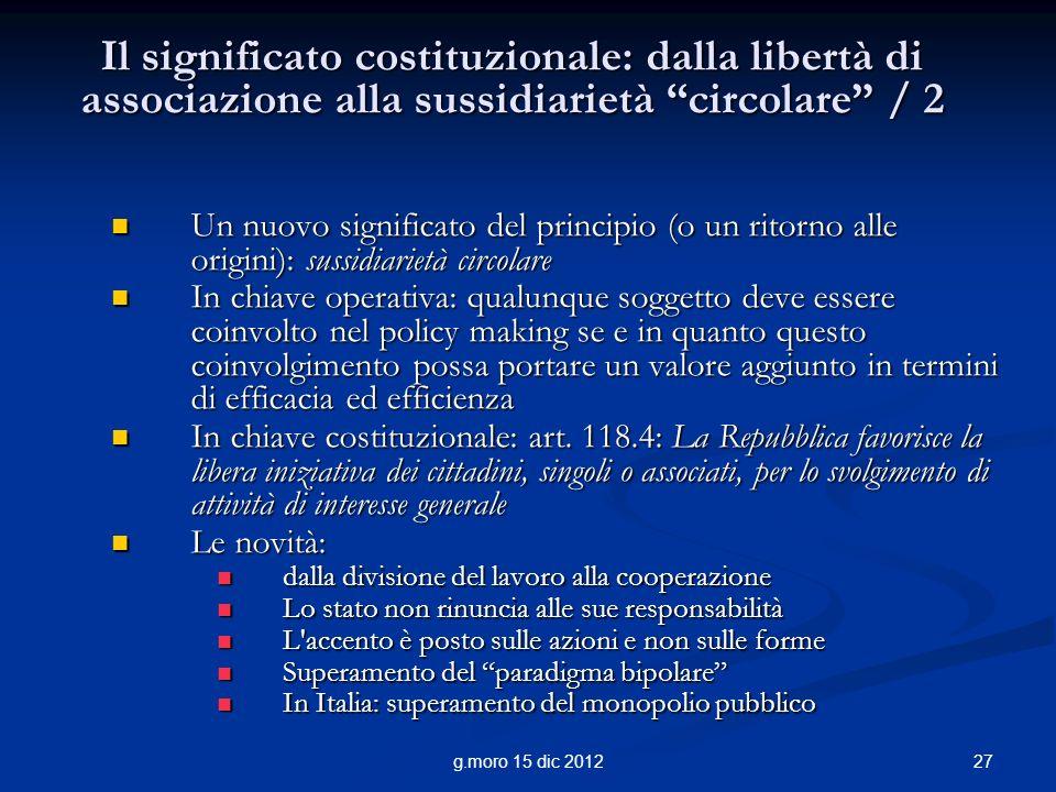 Il significato costituzionale: dalla libertà di associazione alla sussidiarietà circolare / 2