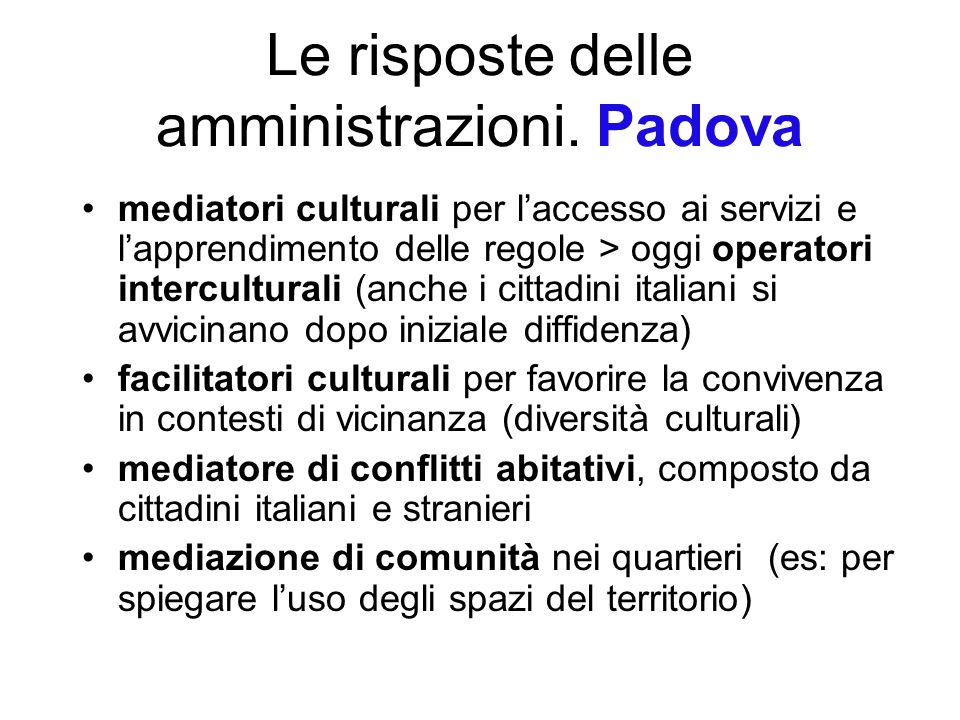 Le risposte delle amministrazioni. Padova