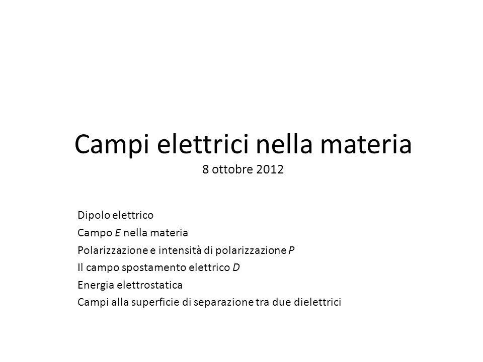 Campi elettrici nella materia 8 ottobre 2012