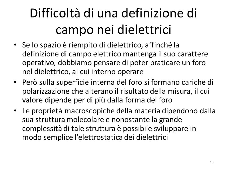 Difficoltà di una definizione di campo nei dielettrici