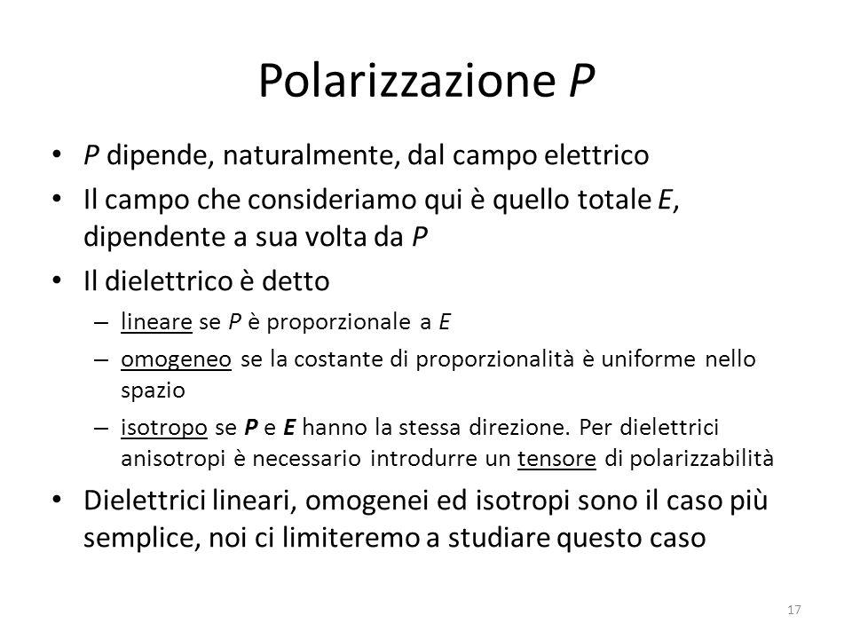 Polarizzazione P P dipende, naturalmente, dal campo elettrico