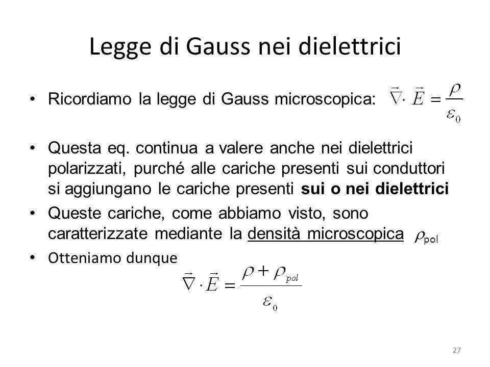 Legge di Gauss nei dielettrici