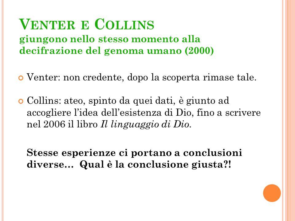 Venter e Collins giungono nello stesso momento alla decifrazione del genoma umano (2000)