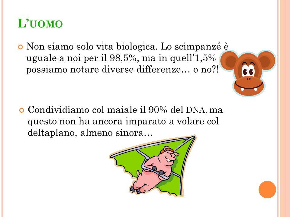 L'uomo Non siamo solo vita biologica. Lo scimpanzé è uguale a noi per il 98,5%, ma in quell'1,5% possiamo notare diverse differenze… o no !