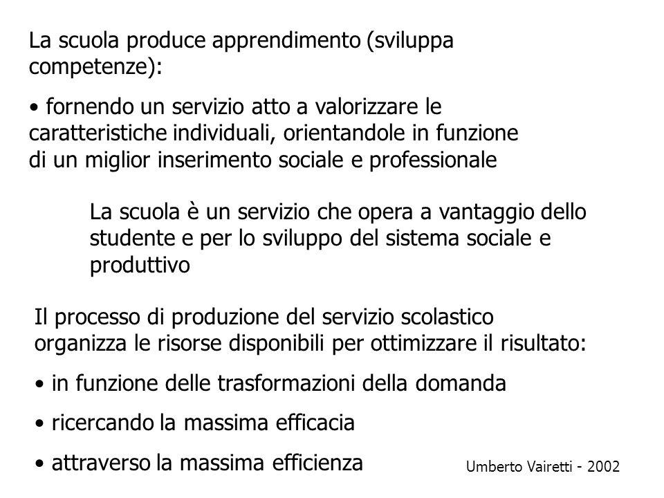 La scuola produce apprendimento (sviluppa competenze):