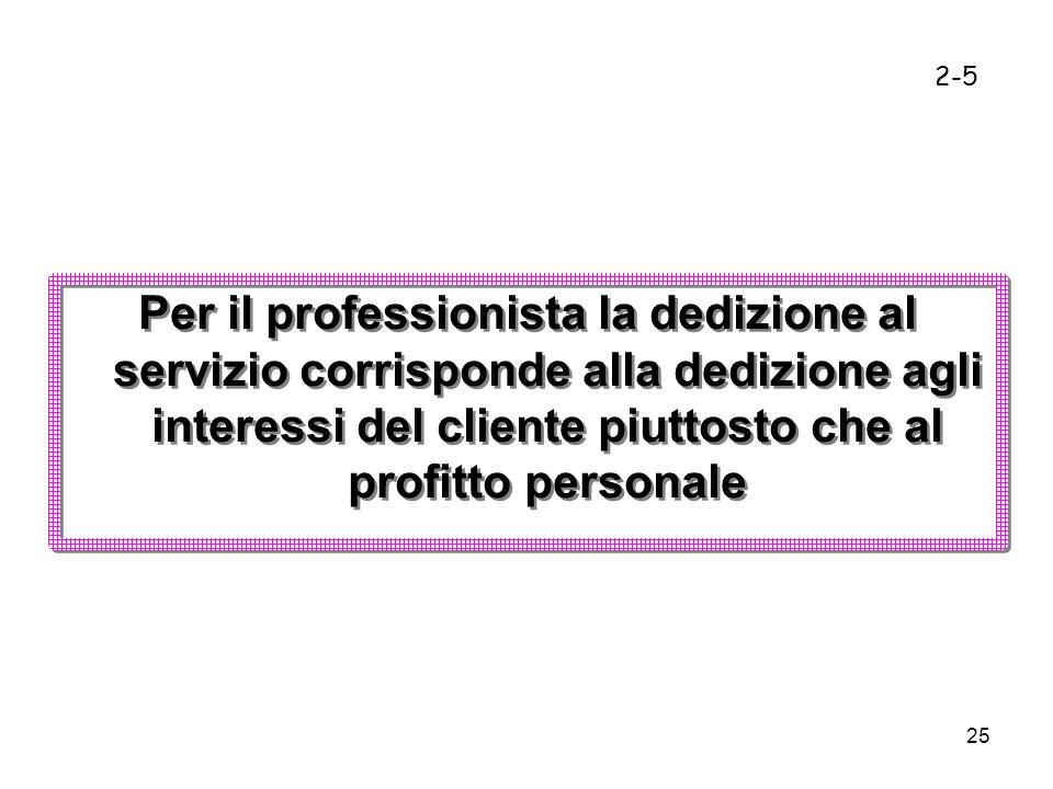2-5 Per il professionista la dedizione al servizio corrisponde alla dedizione agli interessi del cliente piuttosto che al profitto personale.