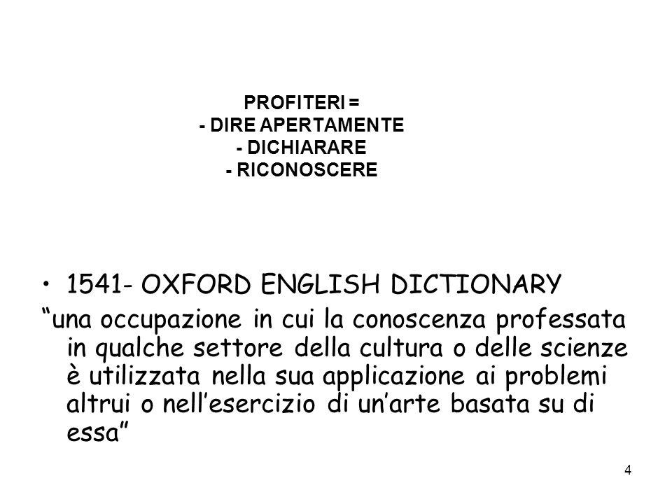 PROFITERI = - DIRE APERTAMENTE - DICHIARARE - RICONOSCERE