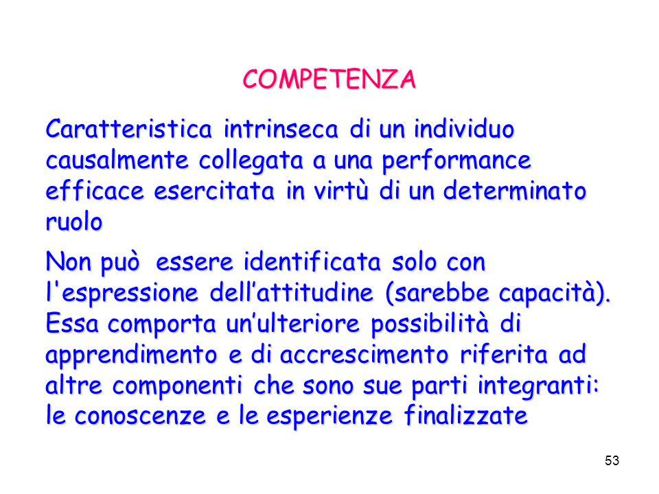 COMPETENZA Caratteristica intrinseca di un individuo causalmente collegata a una performance efficace esercitata in virtù di un determinato ruolo.