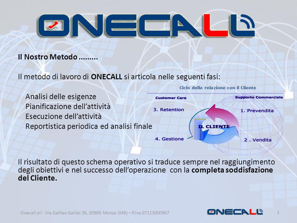 Il metodo di lavoro di ONECALL si articola nelle seguenti fasi: