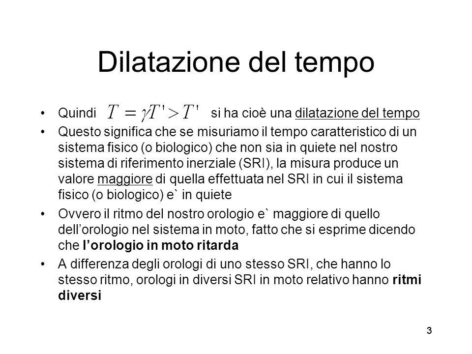 Dilatazione del tempo Quindi si ha cioè una dilatazione del tempo